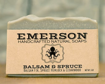 100% Natural Balsam & Spruce Soap with French Green Clay • Vegan Soap, Palm Free Soap, All Natural Soap, Gift for Him, Zero Waste
