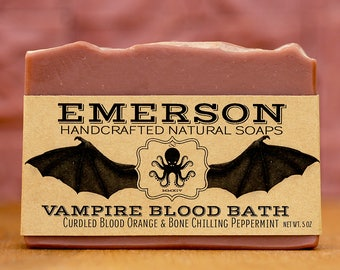 Vampire Blood Bath Soap with Blood Orange & Peppermint • Vegan Soap, Palm Free Soap, All Natural Soap, Handmade Soap, Cold Process Soap