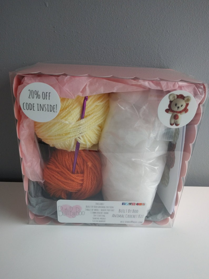 Leo the Lion Crochet Kit - learn to crochet, craft kit, diy, amigurumi  animals, cute, crochet patterns, make an animal, crafting, lion, zoo