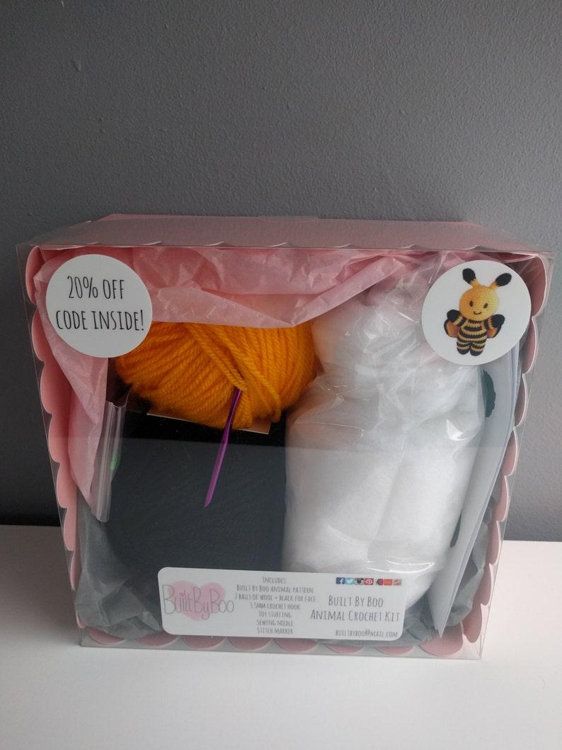 Bumble the Bee Crochet Kit - learn to crochet, craft kit, diy, amigurumi  animals, cute, crochet patterns, make an animal, crafting, bee, fly