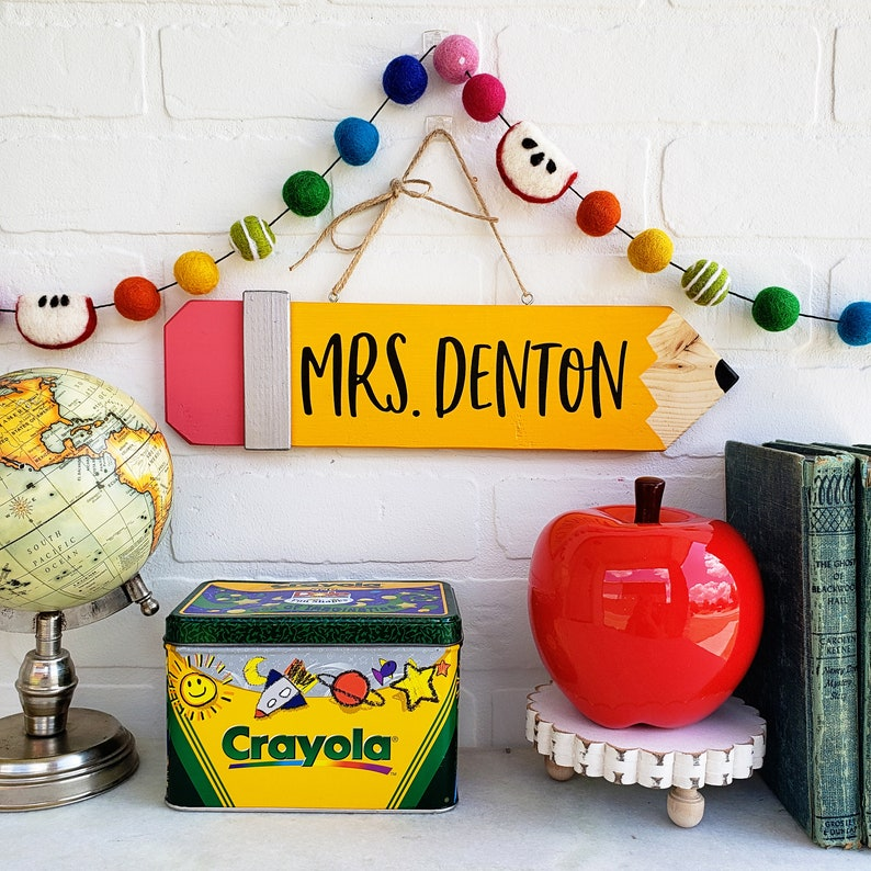 Pencil Teacher Classroom Sign  Personalized Teacher Gift  image 0