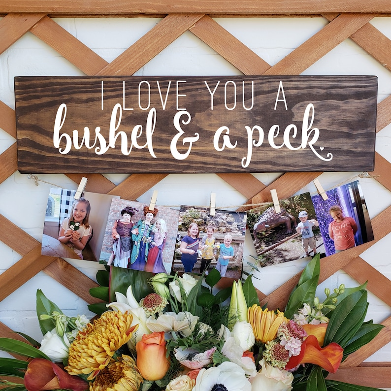 Grandparent Gift Bushel and a Peck Photo Display Board Picture Display Mother/'s Day Personalized Gift