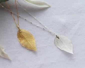 Gold Leaf Necklace, Silver Leaf Necklace, Gold Chain Pendant Necklace, Gold Necklace, Gold Leaf Pendant, Silver Chain Pendant Necklace.