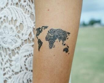 World Map Temporary Tattoo