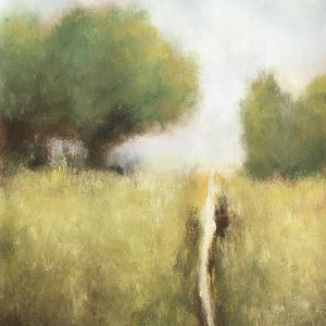 Green field and trees landscape painting Green tree painting oil painting. Monet impressionist oil landscape original art by Don Bishop