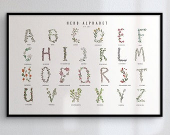 Herb Alphabet Watercolor Poster -- White Background -- Archival -- Multiple Sizes