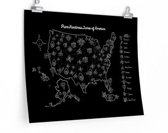 Black & White Matte Gardening Wall Print - Plant Hardiness Zones of America