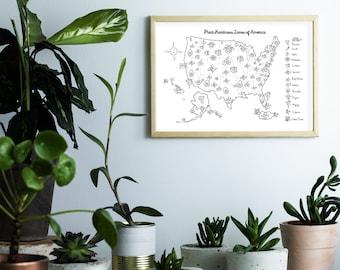 Plant Hardiness Zones of America - Black & White Matte Gardening Wall Print