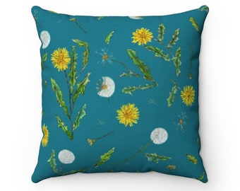 Teal Green Dandelion Throw Pillow Cover -- Spun Polyester Square Pillow Case -- Various Sizes