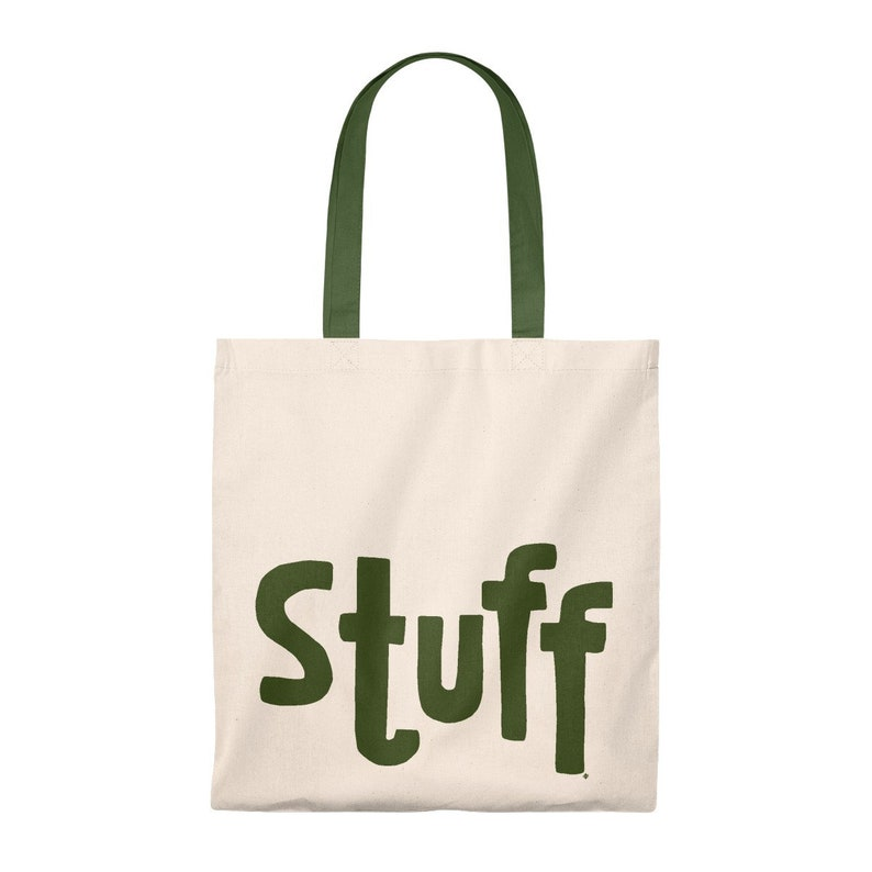 Cotton Stuff Tote Bag Hunter Green Handle /& Lettering Flat Style