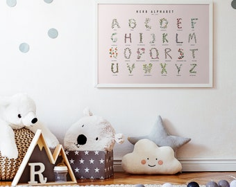 Herb Alphabet Watercolor Poster -- Pink Background -- Archival -- Four Sizes or can Customize