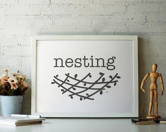 "Nesting - Minimalist Black & White Canvas Gallery Wrap - 10"" x 8"""
