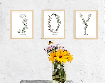 Three Initial Botanical Alphabet Letter Watercolor Prints - Personalized with Name, Plant Choice or Blank - Three Sizes