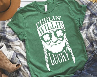 0091c571 Feeling Willie Lucky Green TShirt | St Patricks Day Shirt | Willie Nelson |  Saint Patricks Day | Funny Shirt