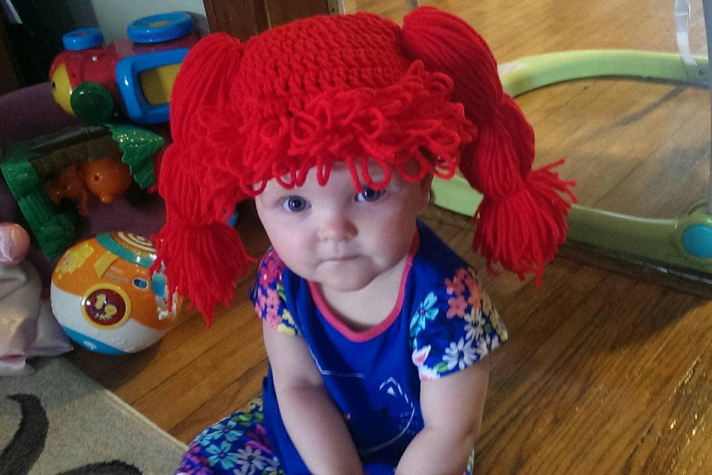 Crochet Hair Yarn Wig Baby Wig Beanie Doll hair ginger  b7c8cef67fd0