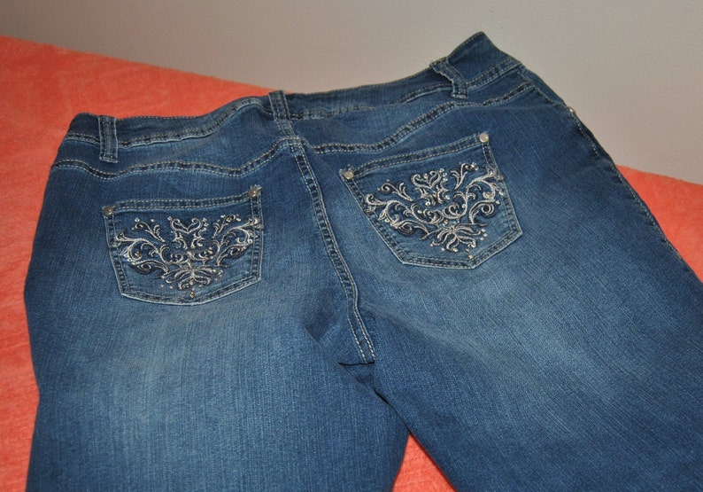 Lane Bryant Worn Blue Jeans Size 16 Embroidered Pockets