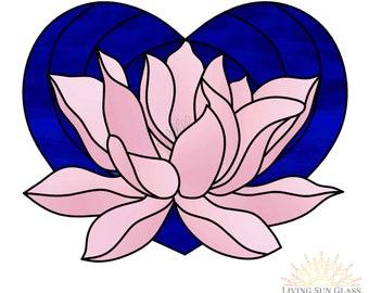Stained Glass Pattern Lotus Flower Lotus Suncatcher Easy Etsy