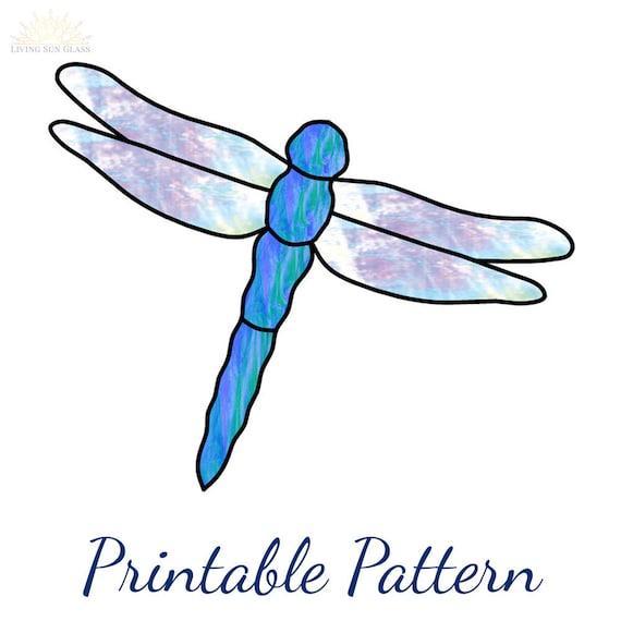Beginner Stained Glass Pattern Dragonfly Suncatcher Pattern Etsy