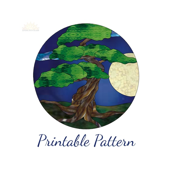 Bonsai Tree Stained Glass Pattern Digital Pattern Printable Etsy