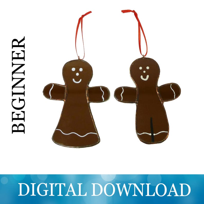 Gingerbread Ornament Pattern Stained Glass For Kids Etsy