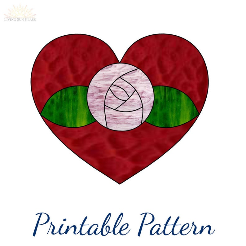 photo regarding Heart Pattern Printable identified as Stained Gl Centre Practice Rose Electronic Behavior Printable Obtain PDF Stained Gl Routine Middle Suncatcher with Rose