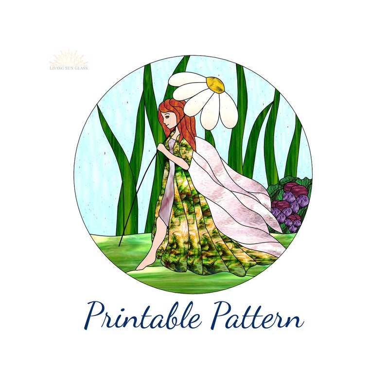 Stained Glass Fairy Digital Download Printable Pattern Stained Etsy