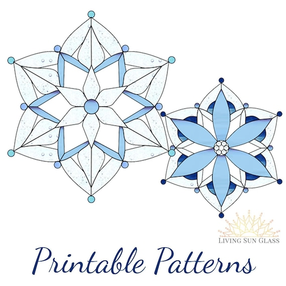 Snowflake Stained Glass Pattern Printable Digital Download Etsy