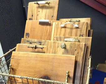Reclaimed wood serving tray with salvaged handles/knobs