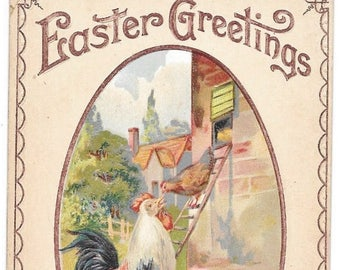 2 Easter Postcards Rooster Hen and Chicks  1911  1912 H. Wessler