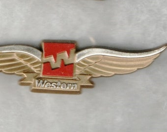 Items similar to Vintage Western Airlines Wings Pin Junior Pilot