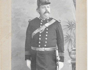 Man in Uniform with Sword Antique Photo - Brattleboro VT  Prouty Studio Photograher