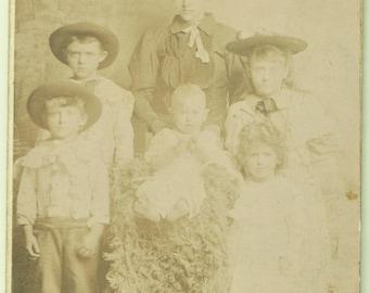 CDV Photo - Family - Barefoot Baby - Children in Hats