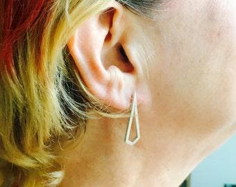 Geometric diamond shape sterling silver stud earrings
