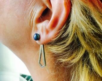 Blue pearl stud and geometric diamond shape sterling silver ear jacket