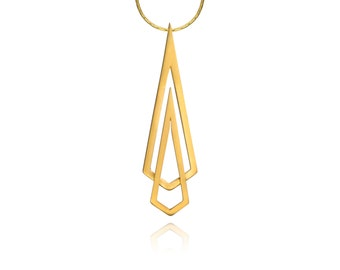 Gold Geometric double diamond shape faceted triangle necklace