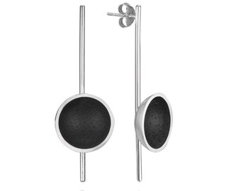 Minimalist inspired sterling silver and black pendant earrings