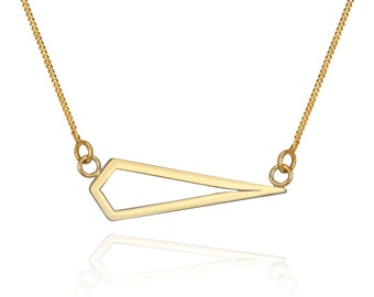Gold geometric diamond shape faceted triangle necklace