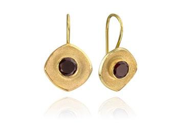 Elizabethan Inspired Cushion Shape Gold Plated Garnet Drop Earrings