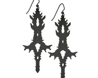 Black roschach inkblot inspired dangle earrings