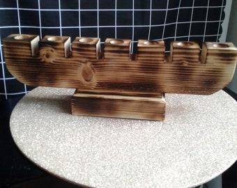 Fire- Kissed Brown Wood Kinara for Kwanzaa  55th  Anniversary 2021  #The Original Kinara