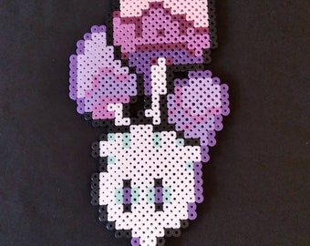 Big blue magic mushroom pixel art bead craft perler sprite kandi decorative