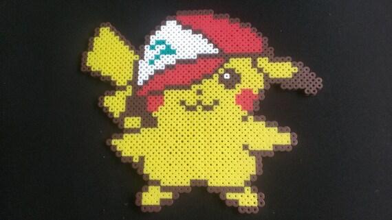 Pokemon Pikachu Kawaii Avec Chapeau Ash Pixel Art Bead Sprite