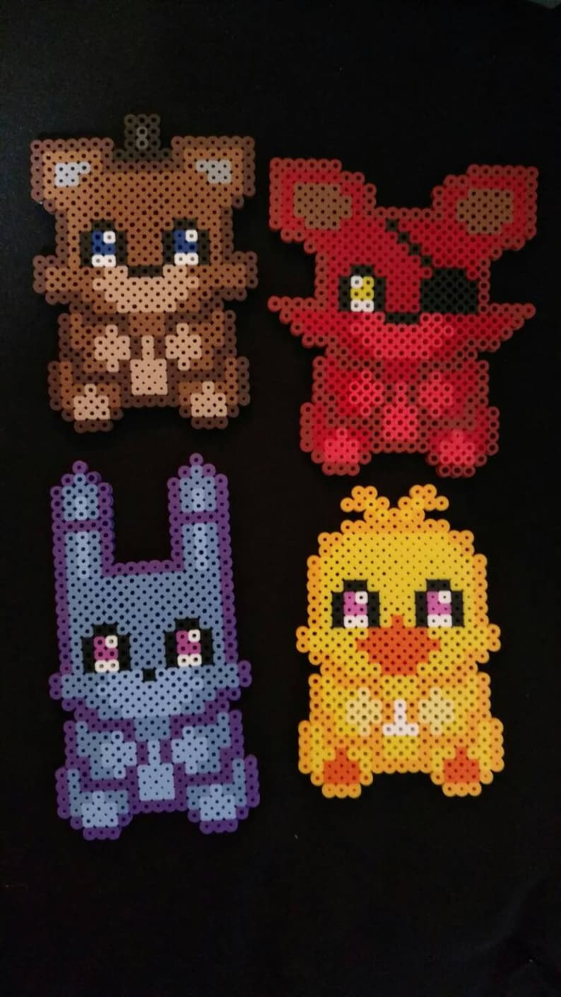 Five Nights At Freddy S Doll Pixel Art Perler Set 4 Pc