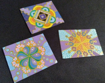 Set of 3 mini acrylic paintings colorful psychedelic abstract art