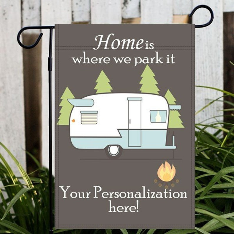 Personalized Camping Flag Custom RV Flag Custom Camp Site Blue