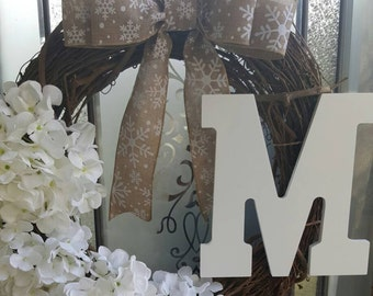 Rustic white and tan monogrammed winter wreath