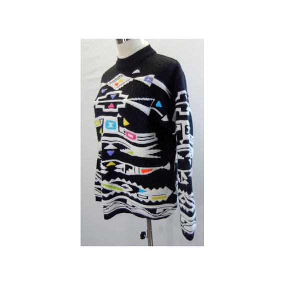 Vintage 80s KITTY HAWK Womens Sweater Sz S Fuzzy Southwestern Geometric Knit Mock Neck Black White Small Drop Shoulders Pullover