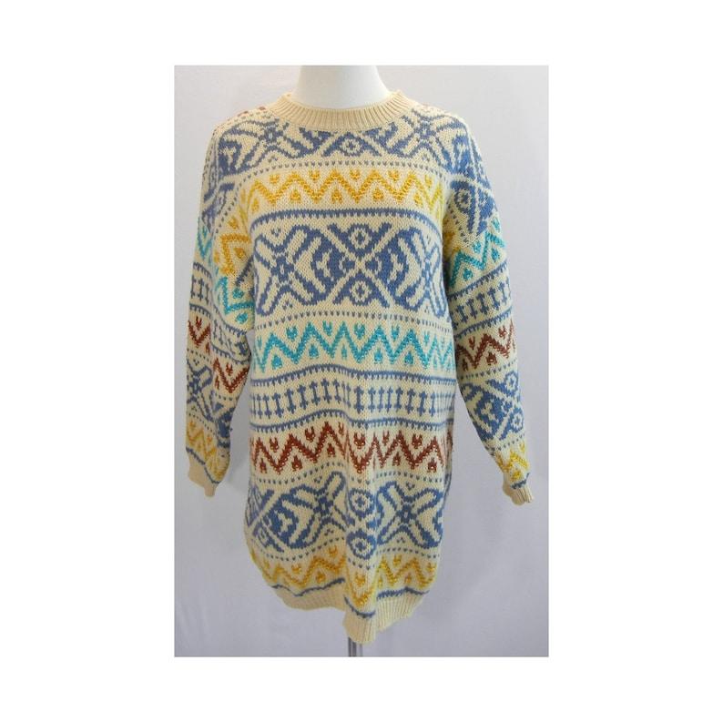 5ee7cbc2b372 Vintage 80s BENETTON Womens Tunic Sweater Sz M 42B