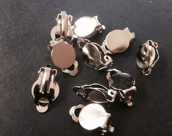 Silver Tone Clip On Earrings Findings Glue Pad 17x10x6mm