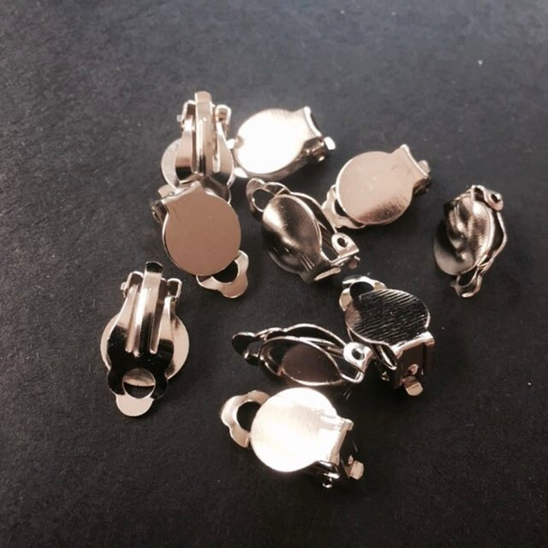 12x Clip On Earring with Pad for Gluing Findings for Fewelry Making Silver